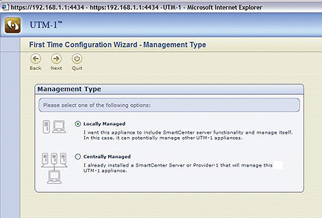 The first-time configuration wizard makes configuring Check Point UTM-1 Appliances easy.